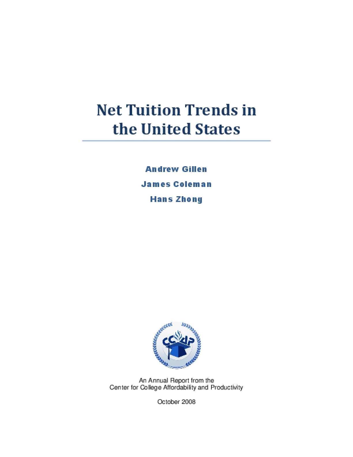 Net Tuition Trends in the United States