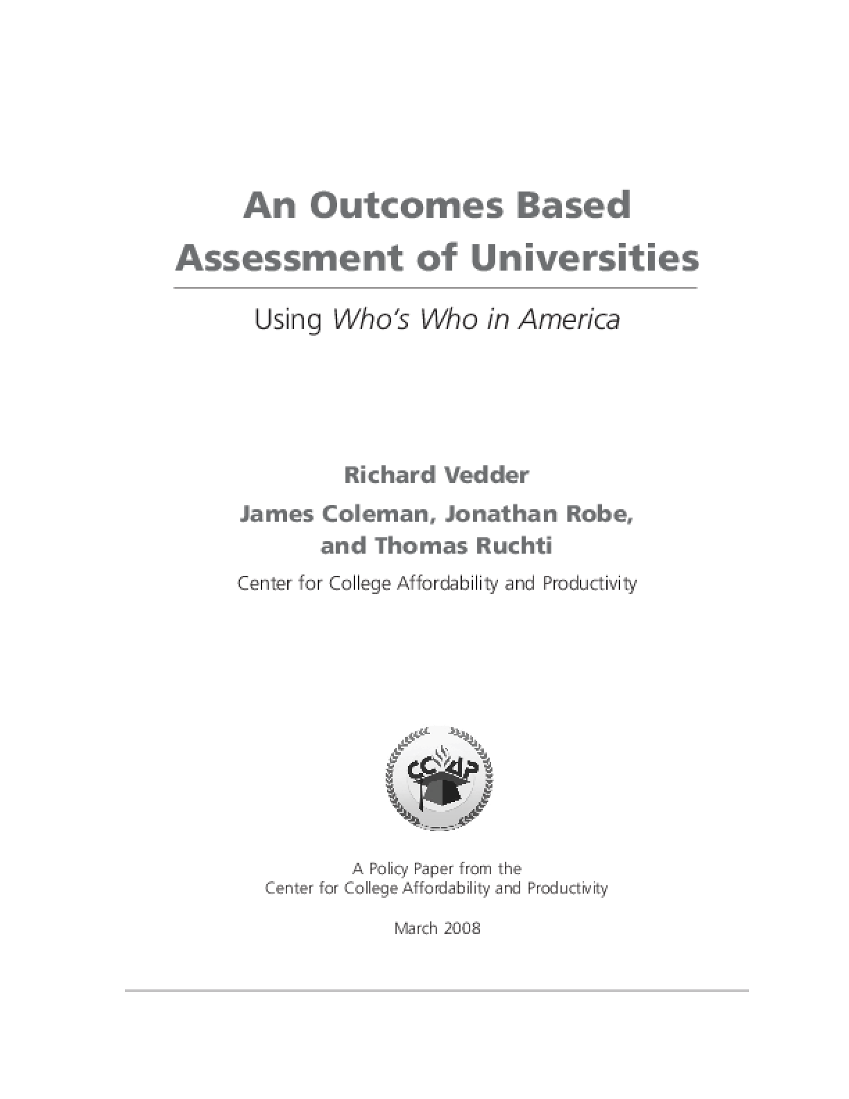Outcomes Based Assessment of Universities