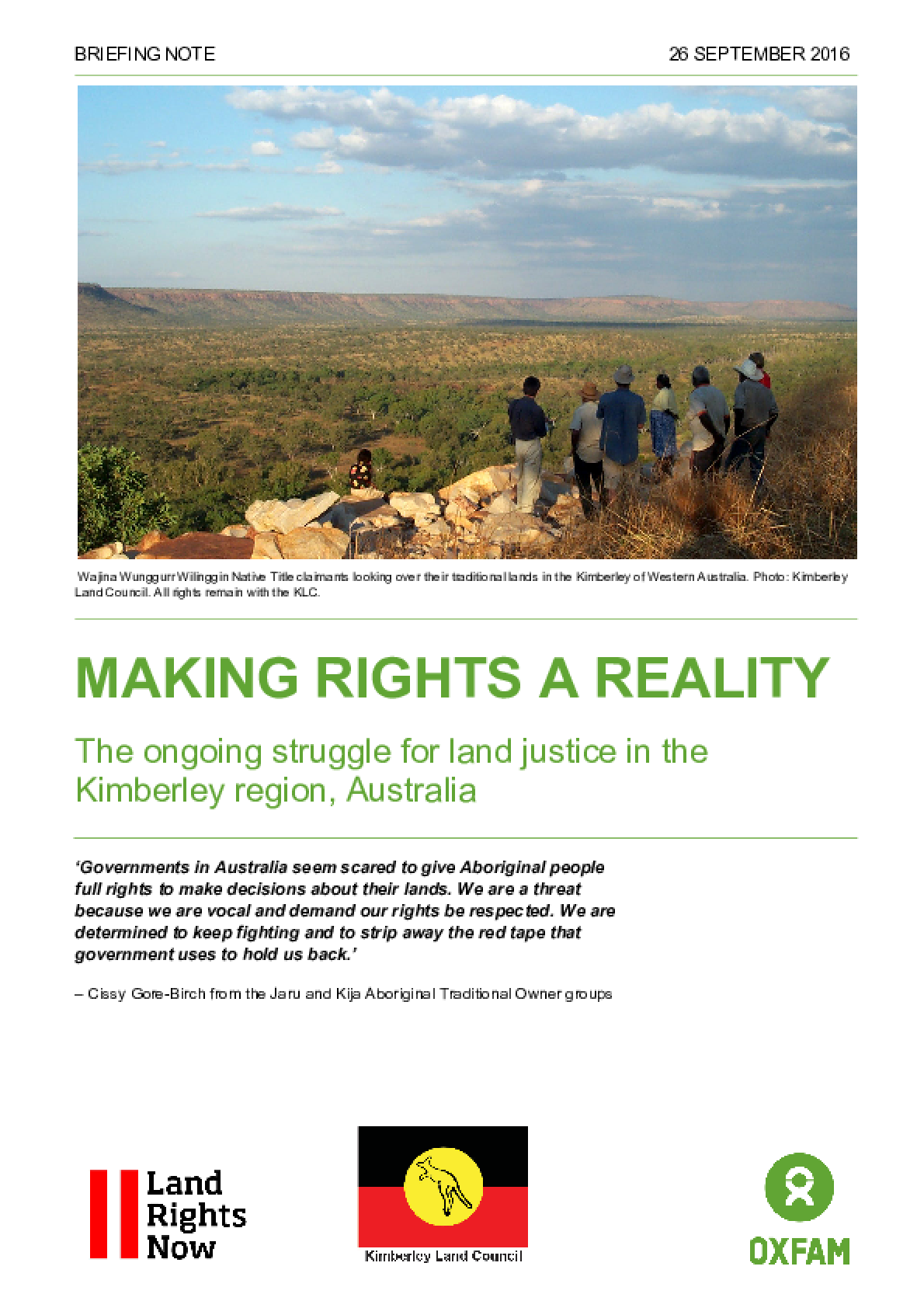 Making Rights a Reality: The ongoing struggle for land justice in the Kimberley Region, Australia