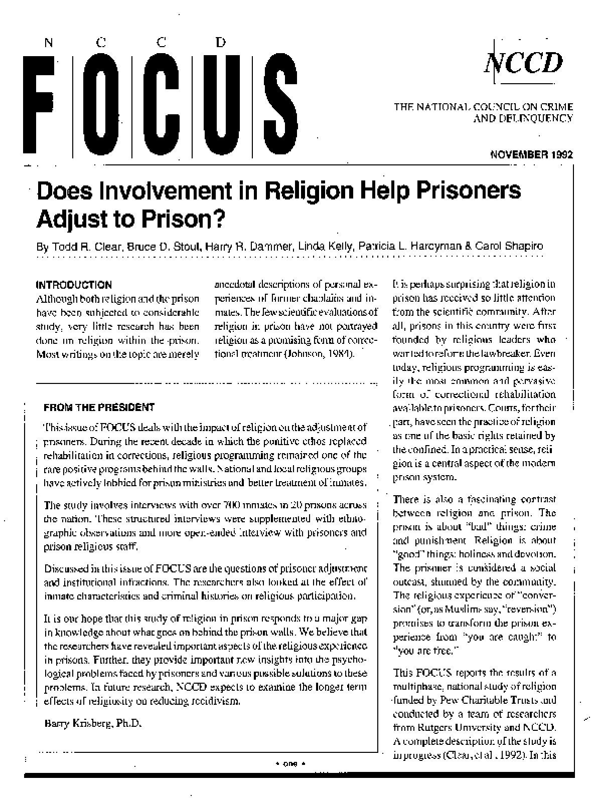 Does Involvement in Religion Help Prisoners Adjust to Prison? (FOCUS)