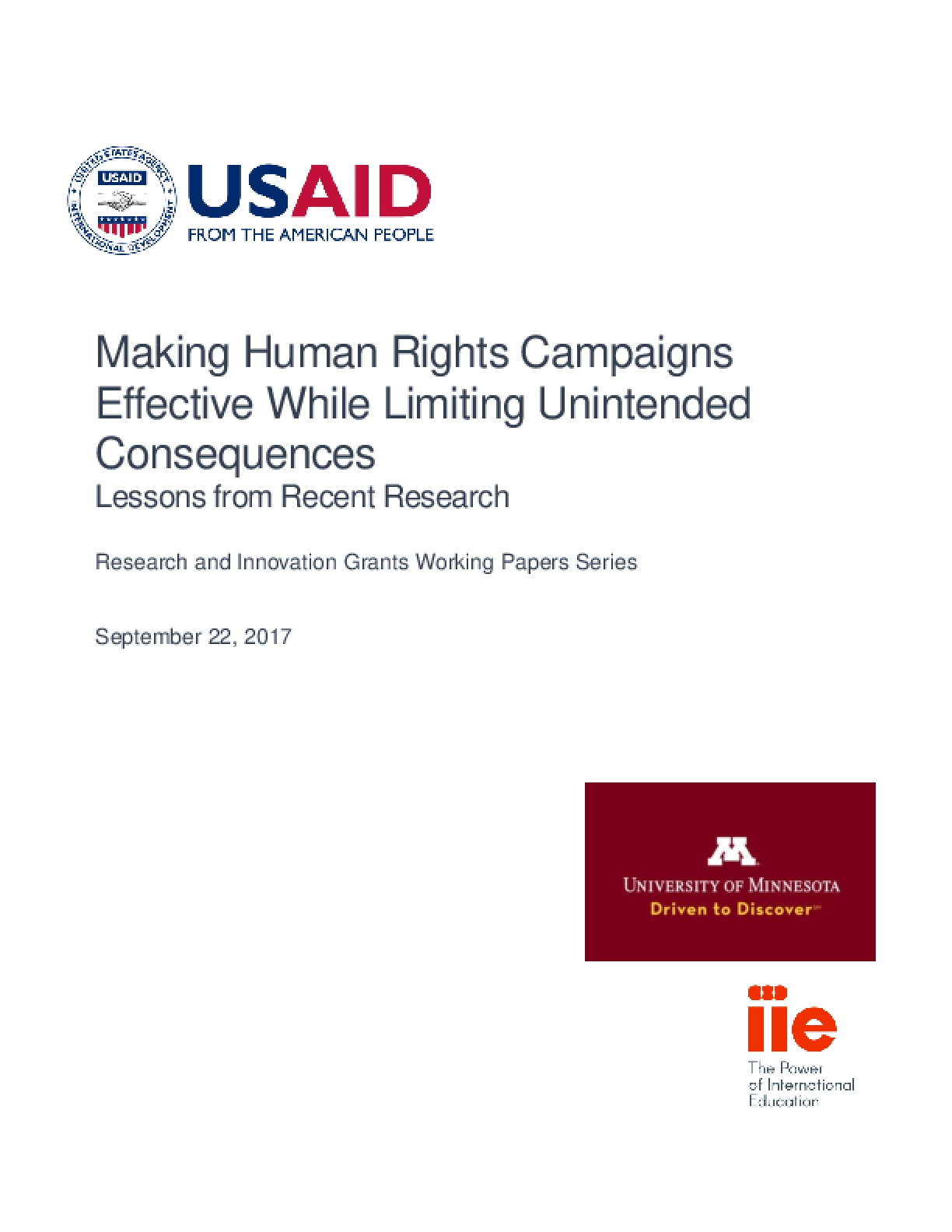 Making Human Rights Campaigns Effective While Limiting Unintended Consequences (2017)
