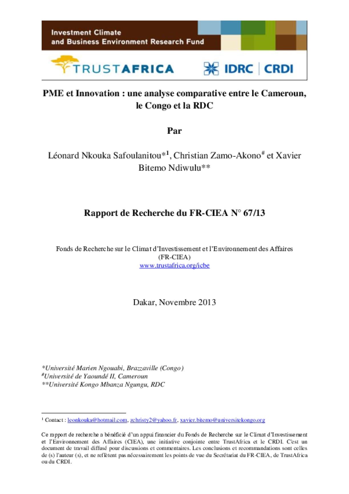 PME Et Innovation : Une Analyse Comparative Entre Le Cameroun, Le Congo Et La RDC