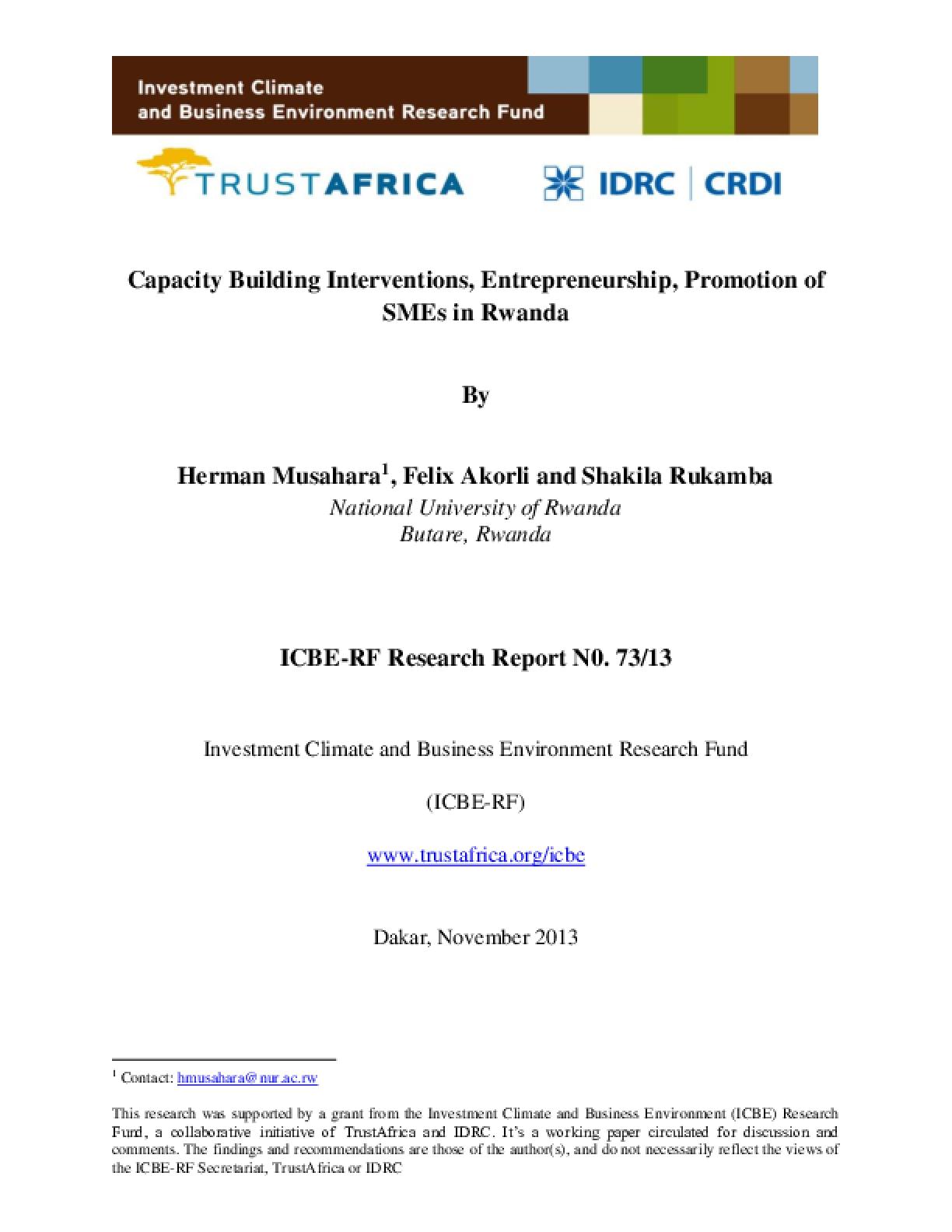 Capacity Building Interventions, Entrepreneurship, Promotion of SMEs in Rwanda