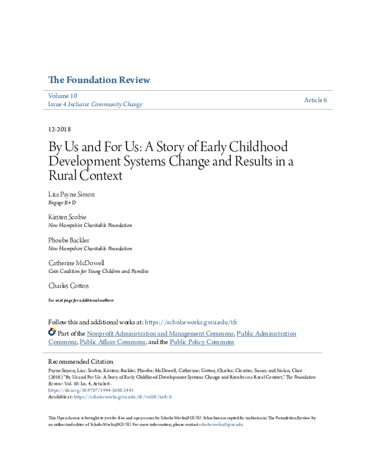By Us and For Us: A Story of Early Childhood Development Systems Change and Results in a Rural Context