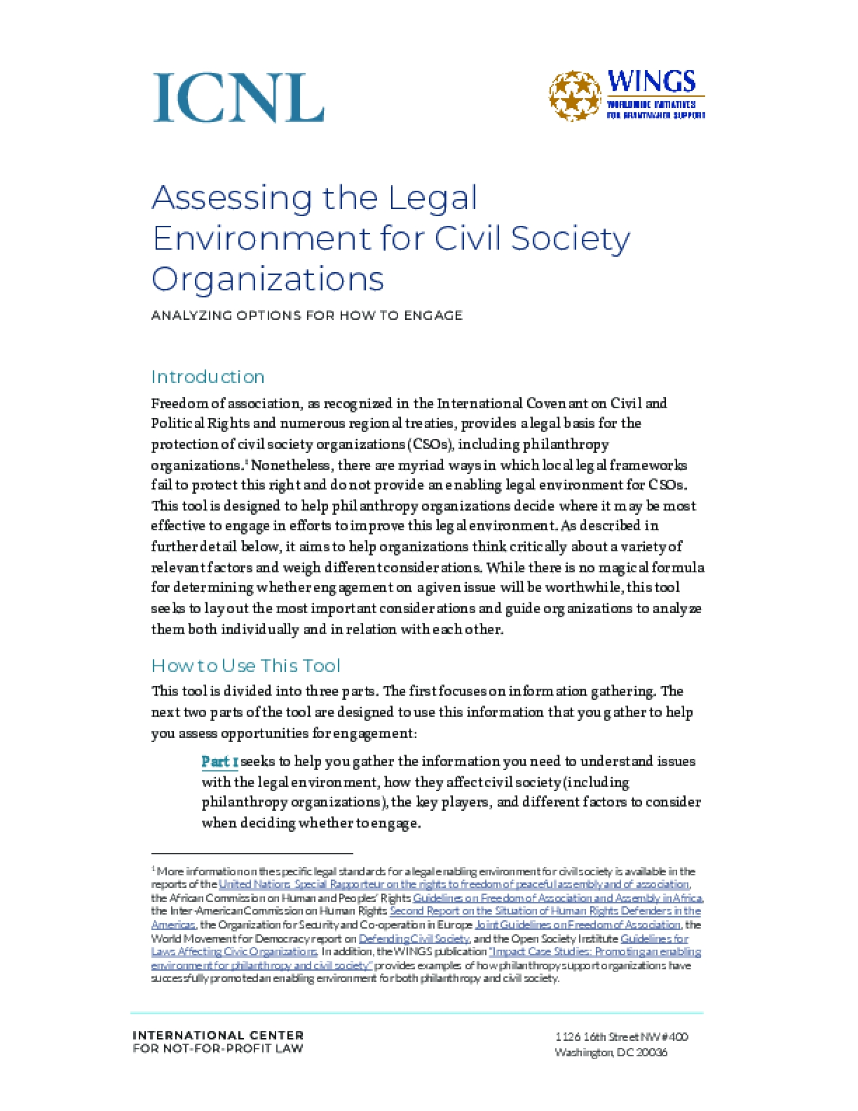 Assessing the Legal Environment for Civil Society Organizations