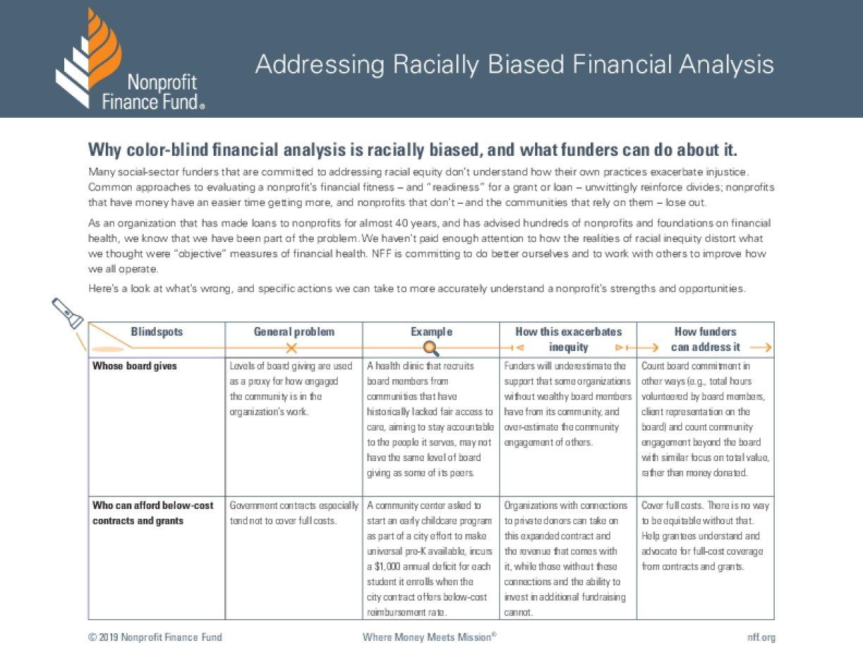 Addressing Racially Biased Financial Analysis: Why Color-blind Financial Analysis Is Racially Biased, and What Funders Can Do About It.