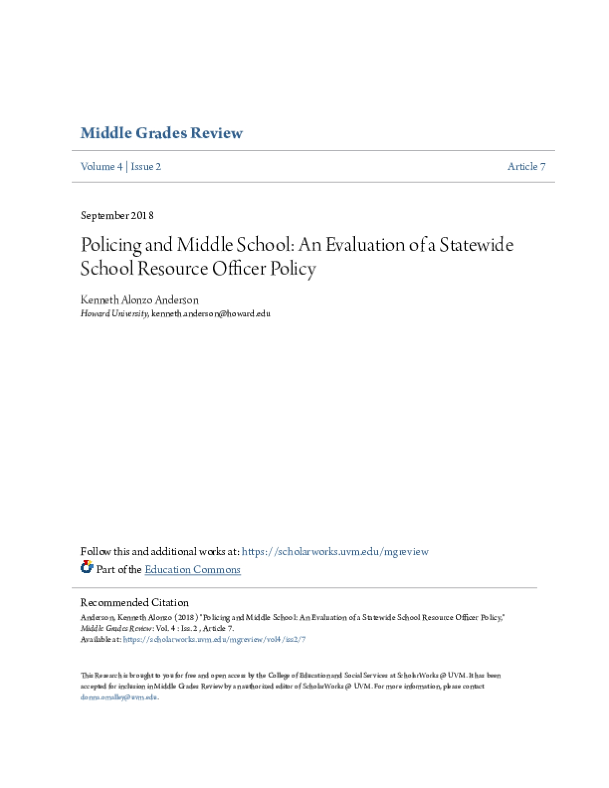 Policing and Middle School: An Evaluation of a Statewide School Resource Officer Policy