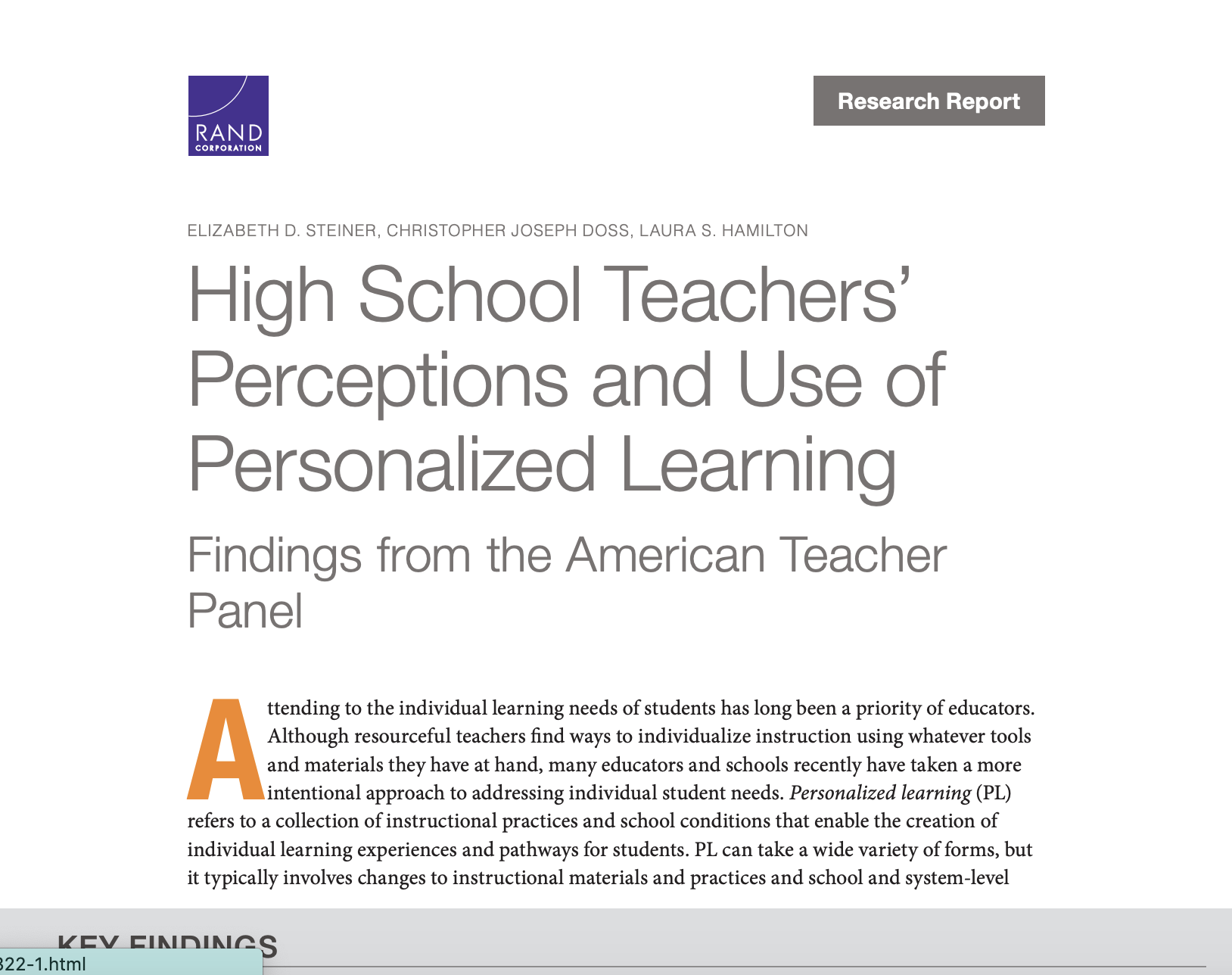 High School Teachers' Perceptions and Use of Personalized Learning Findings from the American Teacher Panel
