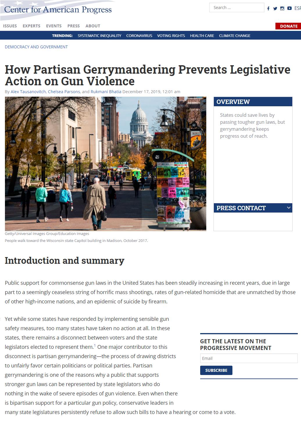How Partisan Gerrymandering Prevents Legislative Action on Gun Violence
