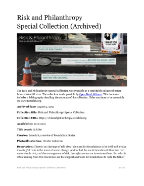 Risk and Philanthropy  Special Collection (Archived)