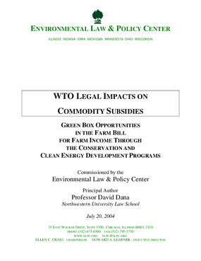 WTO Legal Impacts On Commodity Subsidies: Green Box Opportunities in the Farm Bill for Farm Income Through the Conservation and Clean Energy Development Programs