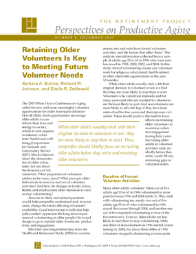 Retaining Older Volunteers Is Key to Meeting Future Volunteer Needs